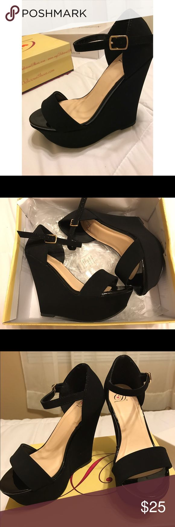 Black Strap Wedges Brand New! Black Strap Wedges. Cute pair of ankle strap black wedges for any outfit and to show off your pedicure! Great condition and in need of new ownership. Shoes Wedges