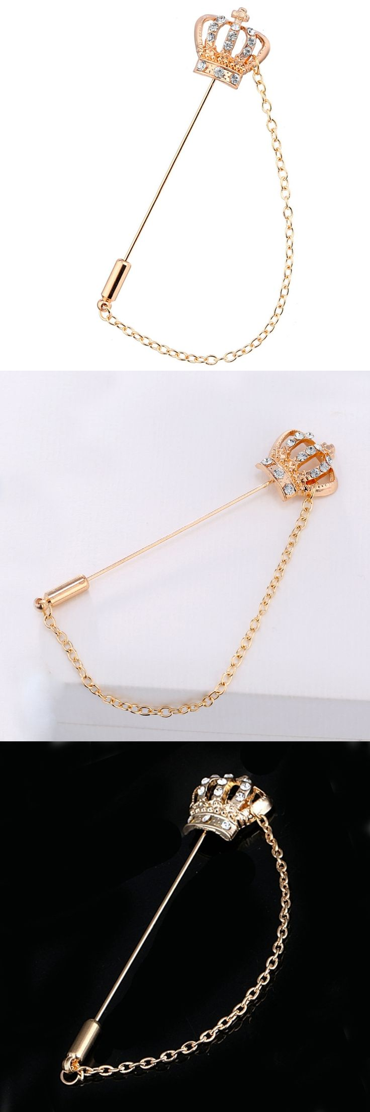 Unisex Rhinestone Crown Men's Chain Brooch Lapel Pin Suit Boutonniere Button Stick Brooches Wedding Party Accessories