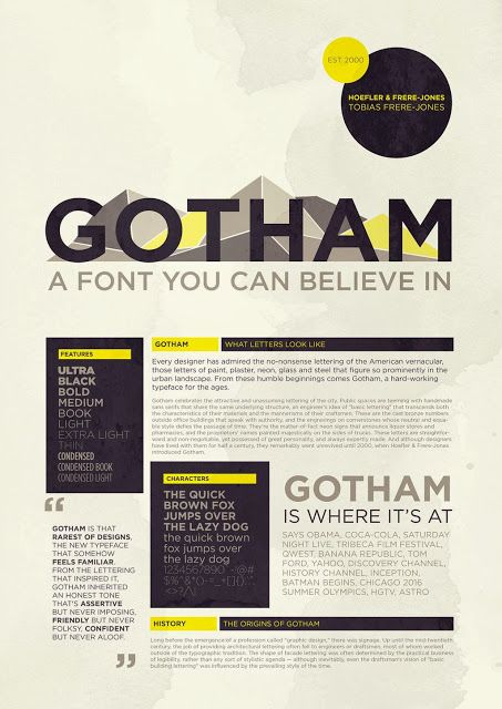 timeline poster for Gotham font | I really like Sans-Serif, geometric fonts for my app. Clean and clear.