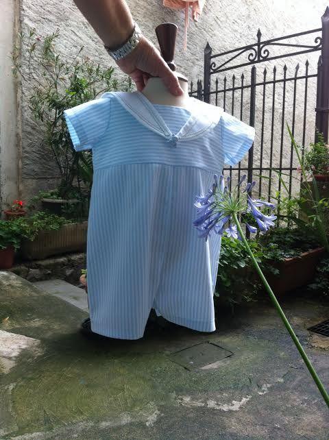 pagliaccetto neonato modello marinara in piquet di cotone