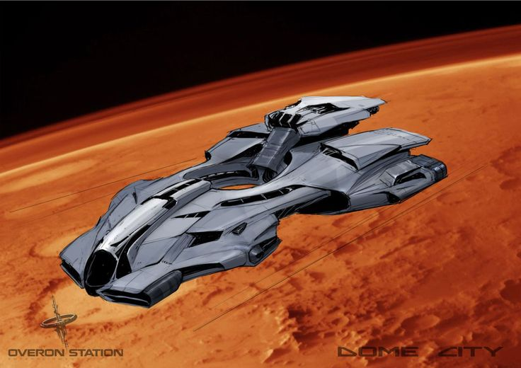 Concept of the spaceship, Tessa near Mars in our upcoming sci-fi adventure game with puzzles and mysteries, Dome City