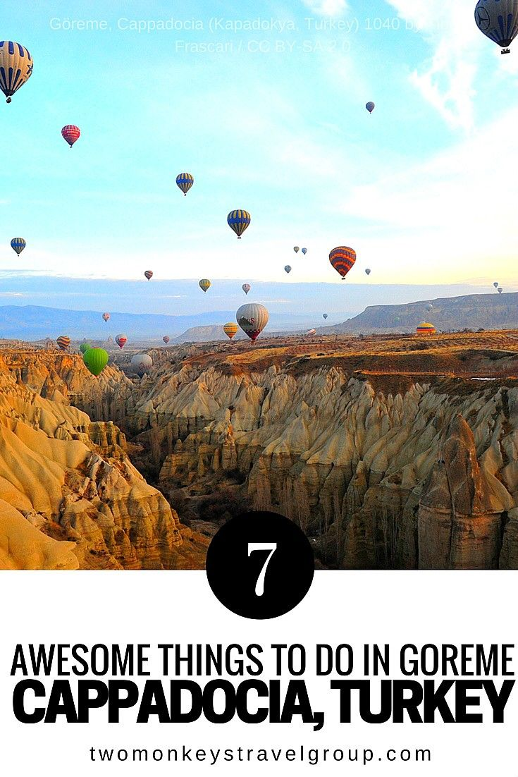 7 Awesome Things to do in Göreme, Cappadocia, Turkey Göreme, is a historical town in Cappadocia, Turkey. Famous for its unique rock formations and daily hot air balloon flights during sunrise.