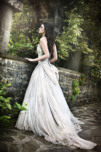 fairytale wedding gown.. I love the long, loose pleats