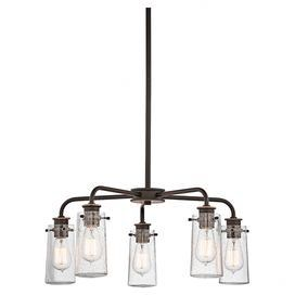 """$385 Showcasing seeded glass shades and an olde bronze finish, this handsome chandelier casts a stylish glow over your dining room or foyer.  Product: ChandelierConstruction Material: Metal and glassColor: Olde bronzeFeatures: 36"""" Chain lengthAccommodates: (5) 60 Watt S21 bulbs - not includedDimensions: 11.25"""" H x 25"""" Diameter (overall)"""