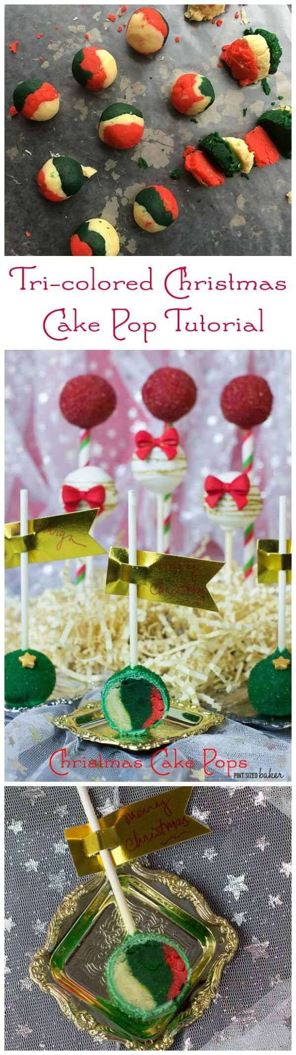 Amazing surprise inside, tri-colored Christmas Cake Pop tutorial. They are fun and make a big impression.
