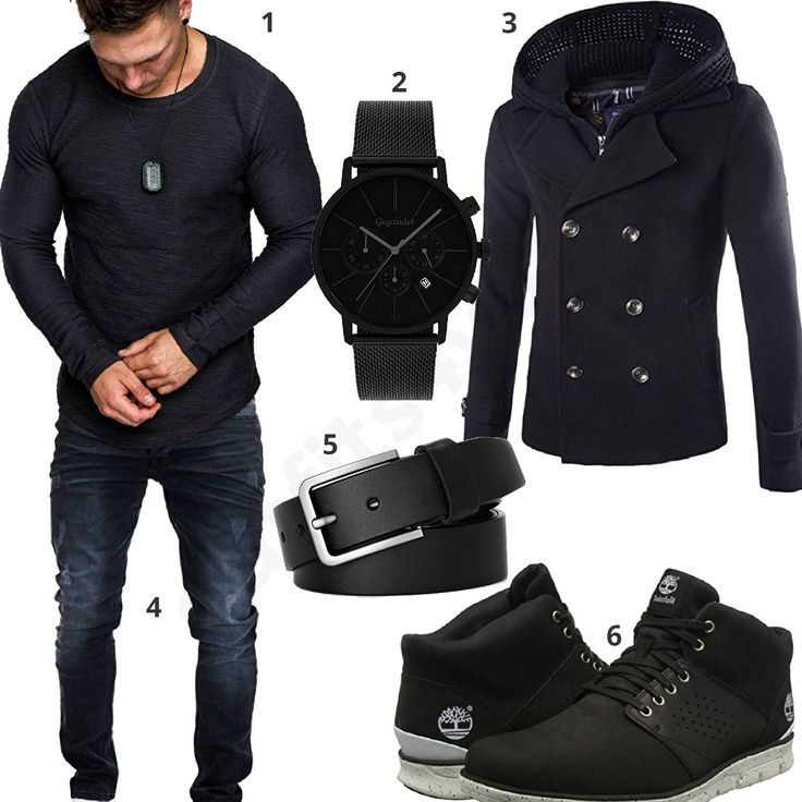 Schwarz-Dunkelblaues Herren-Outfit mit Mantel (m0593) #outfit #mantel #jeans #boots #timberland #gigandet #style #fashion #menswear #herren #männer #shirt #mode #styling #sneaker #menstyle #mensfashion #menswear #inspiration #shirt #cloth #clothing #ootd #herrenoutfit #männeroutfit