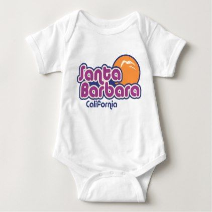 Santa Barbara California Baby Bodysuit - retro clothing outfits vintage style custom