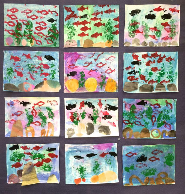 "Kindergarten paintings based on Leo Lionni's ""Swimmy.""  We used a combination of painting and stamps to create the images.  I tried to have them use the same basic process Lionni did. http://www.amazon.com/Swimmy-Leo-Lionni/dp/0394817133/ref=tmm_hrd_swatch_0?_encoding=UTF8&sr=8-1&qid=1425599000"