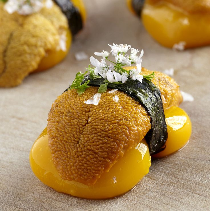 Liquid Mango Nigiri with sea urchin, shiso and pickled sansho pepper. #recipe