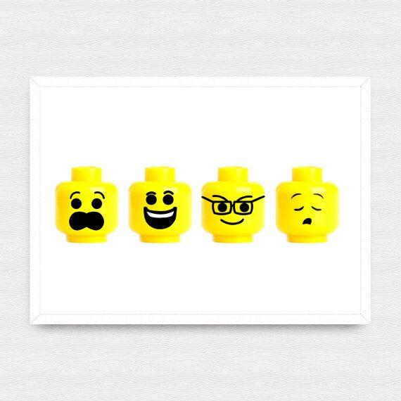 Custom Lego Wall Art, Lego Prints, Customized Lego Head Printables, Minimal Lego Faces, Lego Nursery Art, digital print illustration A3+A4 by Digitallab on Etsy https://www.etsy.com/uk/listing/264101495/custom-lego-wall-art-lego-prints