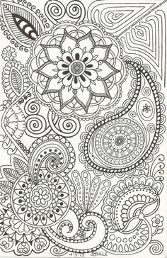 Henna-Inspired Doodle (by Patricia Hill) of Paisleys, Flowers, Swirls and Such on Etsy, $1.50