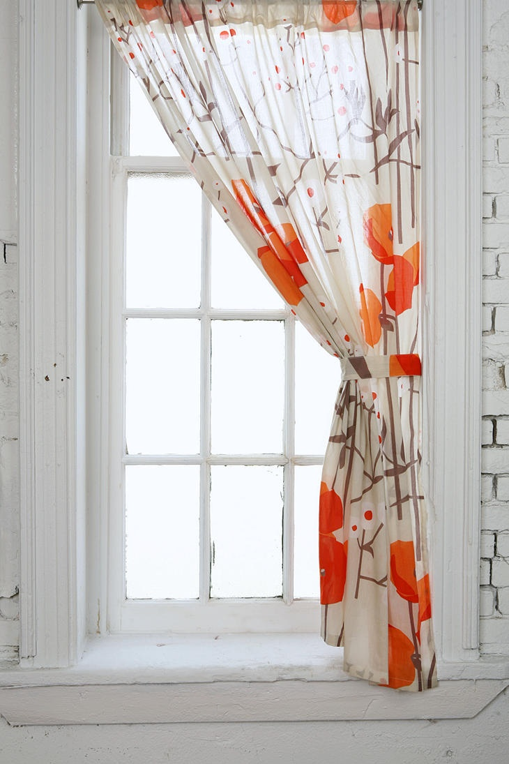 Asian Poppy Curtain $39
