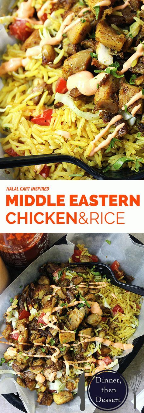 HALAL CART'S MIDDLE EASTERN CHICKEN AND RICE==CHICKEN==2T lemon juice, 1T fresh oregano, ½t coriander, 3 garlic cloves, ¼c olive oil, Kosher salt,ground black pepper, 2lbs chicken thighs (6 to 8 thighs), 1T vegetable/canola oil ==FOR THE RICE== 2 Tunsalted butter, ½t turmeric, ¼t ground cumin, 1½c long-grain/Basmati rice, 2½c chicken broth Kosher salt, freshly ground black pepper ==FOR THE SAUCE== 1 c Greek yogurt, 1-2 T Sriracha sauce, 2 cloves garlic, salt and pepper to taste ====