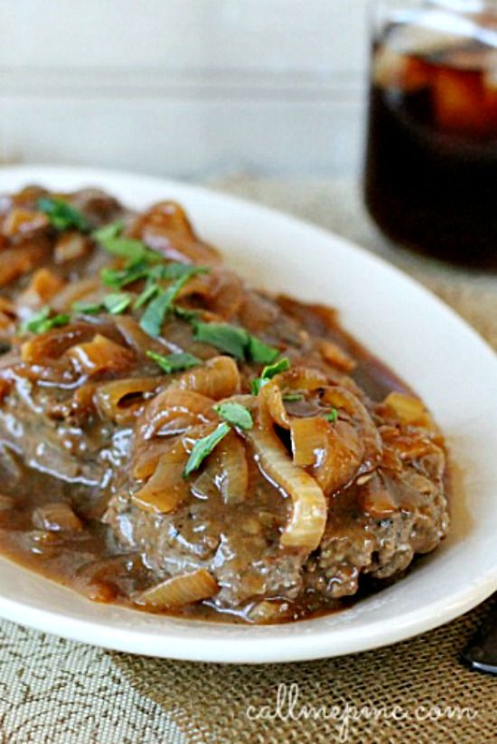 Hamburger Steak with Onions and Brown Gravy Recipe- easy-to-make classic Southern favorite of  rich brown gravy & caramelized onions smothering beef.