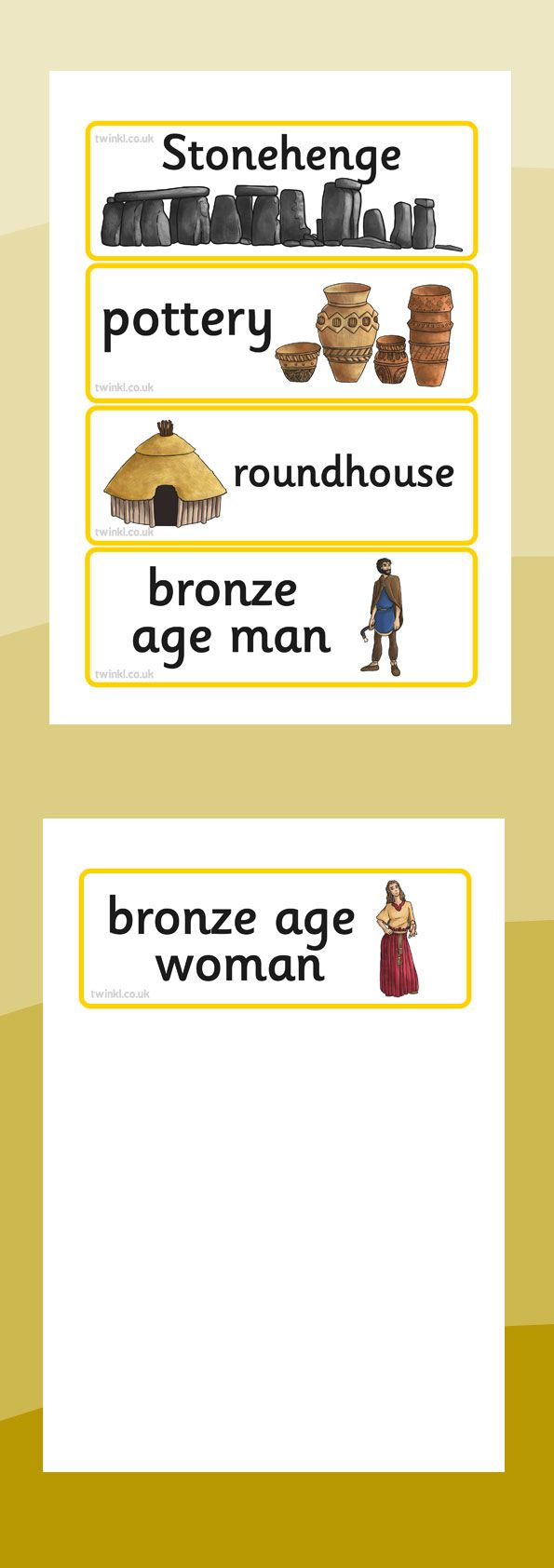 KS2 Bronze Age- Bronze Age Word Cards