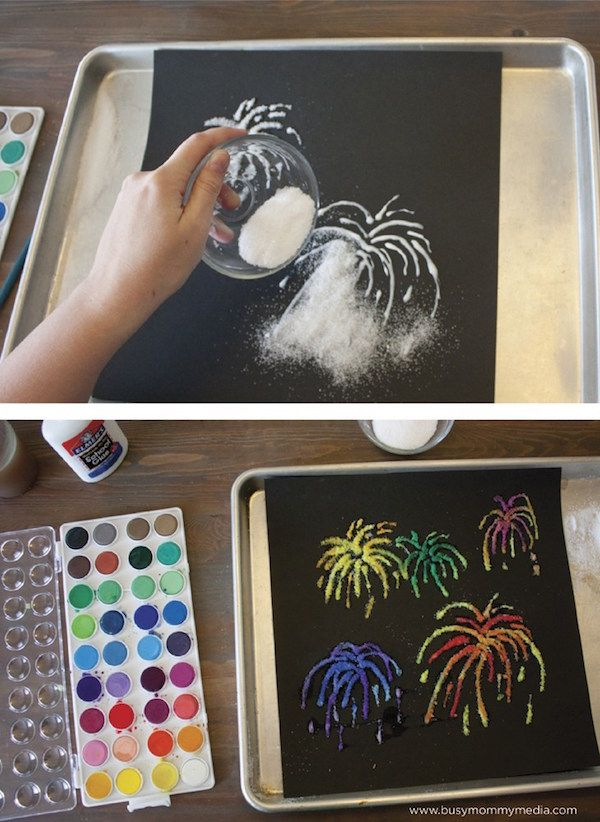 Fireworks salt painting tutorial: It actually sparkles. So cool! | DIY at Busy Mommy Media
