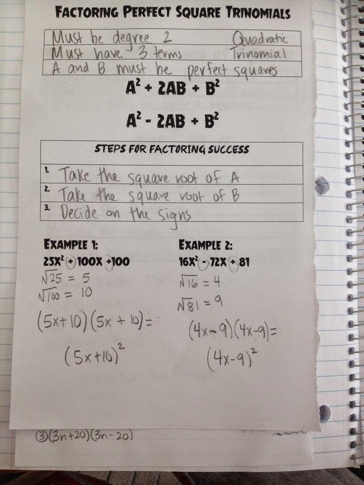 Making Mathematics Magical Factoring perfect square trinomials