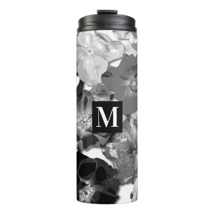 Wild Rose Pattern Black and White Monogram Thermal Tumbler - black and white gifts unique special b&w style
