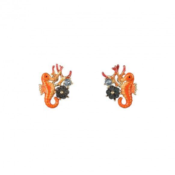 Boucles d'oreilles petit hippocampe et corail