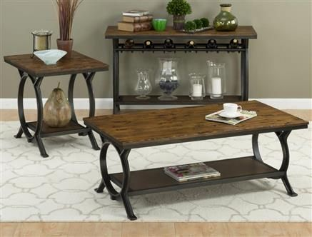 Harper Press Dark Rustic Solid Wood Metal Coffee Table Set