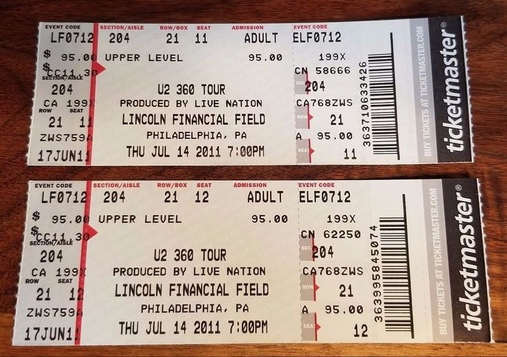 U2 360 TOUR Unused Concert Tickets Show At Lincoln Financial Field Philadelphia
