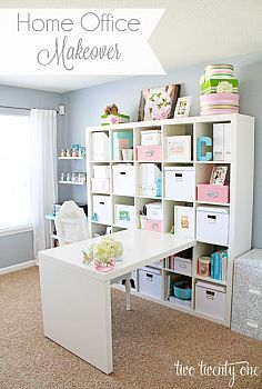 Home Office / Craft Room Makeover...I love the table idea. I could put hinges on it & fold up when not in use