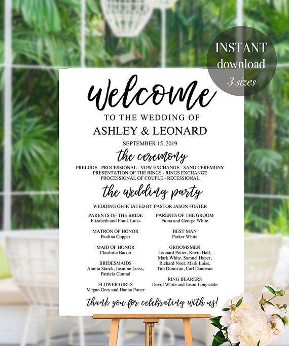 Wedding Program Sign Large