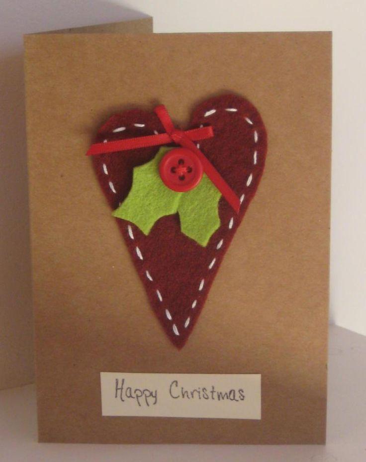 TSF002 Felt Heart Christmas Card ~ The Sparkly Fairy
