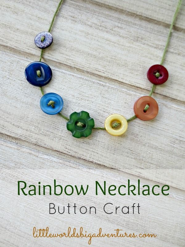 Sweet and Simple Rainbow Necklace Craft | Gorgeous fine motor activity with buttons for preschoolers. Celebrate spring and St. Patrick's Day in one go! | Little Worlds Big Adventures