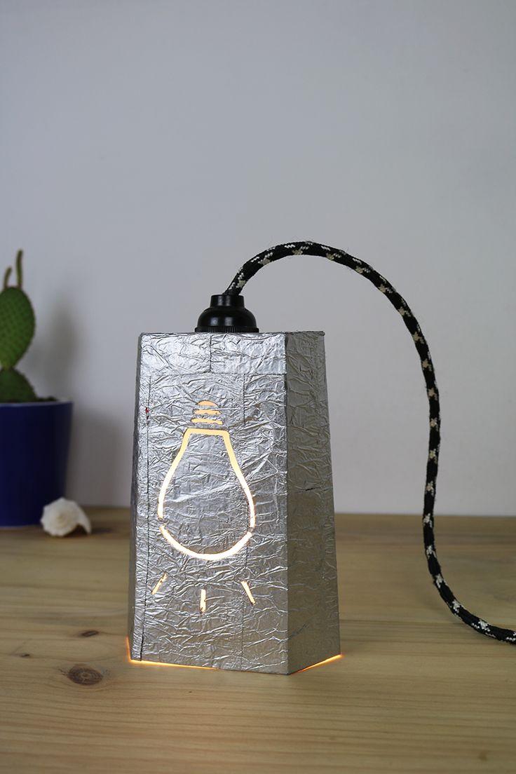 tutorial lámpara de cartón reciclado diy upcycling