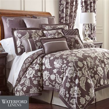 Adelisa Plum Comforter Bedding by Waterford Linens