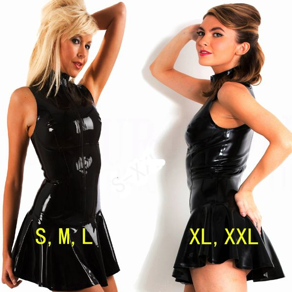 >> Click to Buy << Hot Top Toughness Faux PVC Leather Bondage Mini Dress Sleeveless Ruffles Bodycon Catsuit PU Vinyl Clubwear Dance Fetish Cocktail #Affiliate