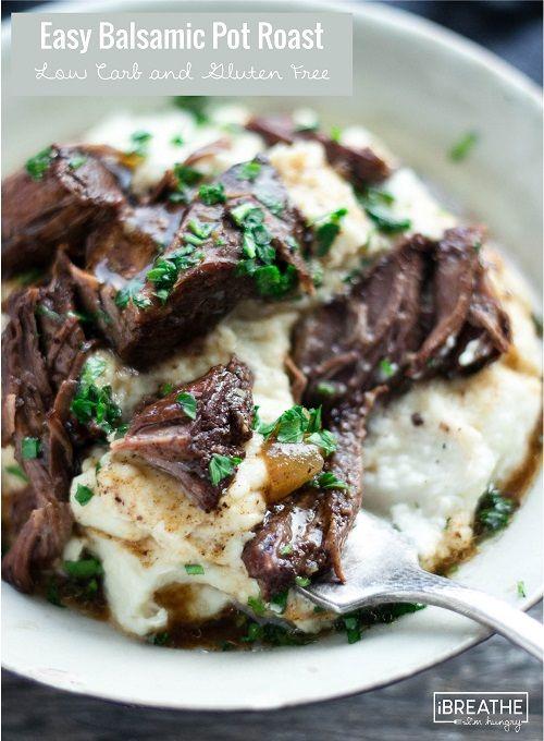 This delicious low carb pot roast recipe tastes amazing over cauliflower puree!