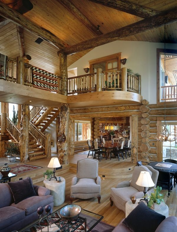 West Solitude Residence Great Room. Log home in Jackson, Wyoming built by THB.