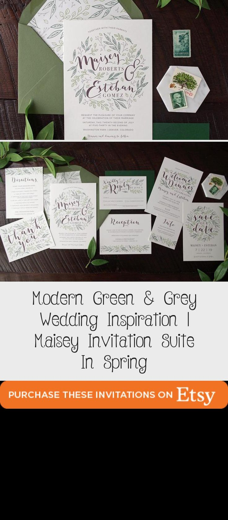 Botanical illustration Green & Grey Wedding inspiration perfect for a modern garden wedding or an urban wedding dripping with greenery. Palette of greens - emerald and sage. Earthy and organic with clean, modern touches. Bridesmaid dresses #OrangeBridesmaidDresses #BlackBridesmaidDresses #BridesmaidDressesWithSleeves #MaroonBridesmaidDresses #BridesmaidDressesIndian