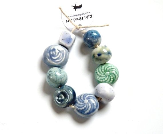 Handmade beads 9 handmade blue green ceramic beads by KilnFiredArt