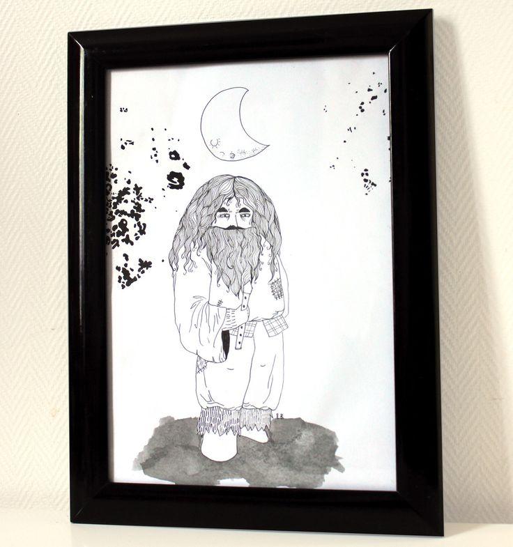 Illustration originale, personnage, *Le géant sous la lune* technique feutre fin noir et encre de chine, dimentions 21 par : Dessins par elodie-amandine-bourdeau-illustrations