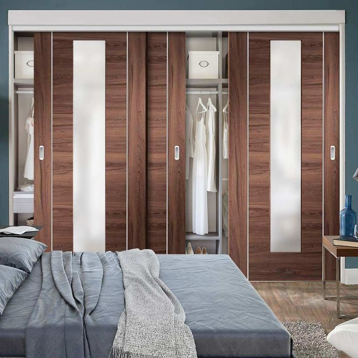 Trend Bespoke Thruslide Forli Walnut Glazed Door Wardrobe and Frame Kit Aluminium Inlay Prefinished