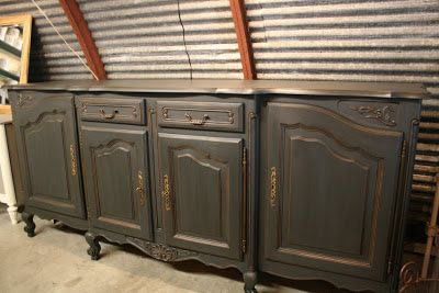 A client brought this grand buffet to me to have it painted for her dining room in a new house she just bought.  It is such a beautif...