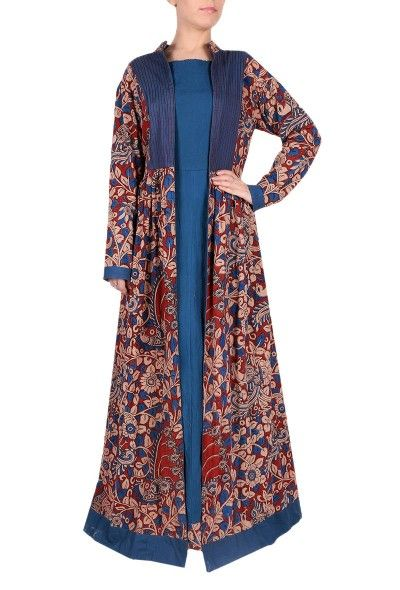 This beautiful A-line open long jacket comes with beautiful Kalamkari print & stylish neckline. Dimension: Available in size XS, S, M, L, XL, XXL & XXXL Length of the kurta: L: 58 inches Length of sleeves : 22 Inches Color: Multi-color Lining: NO Material: Kalamkari Cotton Finish: Hand Block Printed Inspiration: Kalamkari
