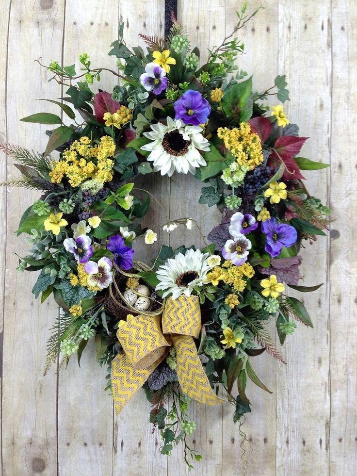 SPRING Door Wreaths, Front Door Wreath, SUMMER Sunflower Wreath for Outdoors #Handmade