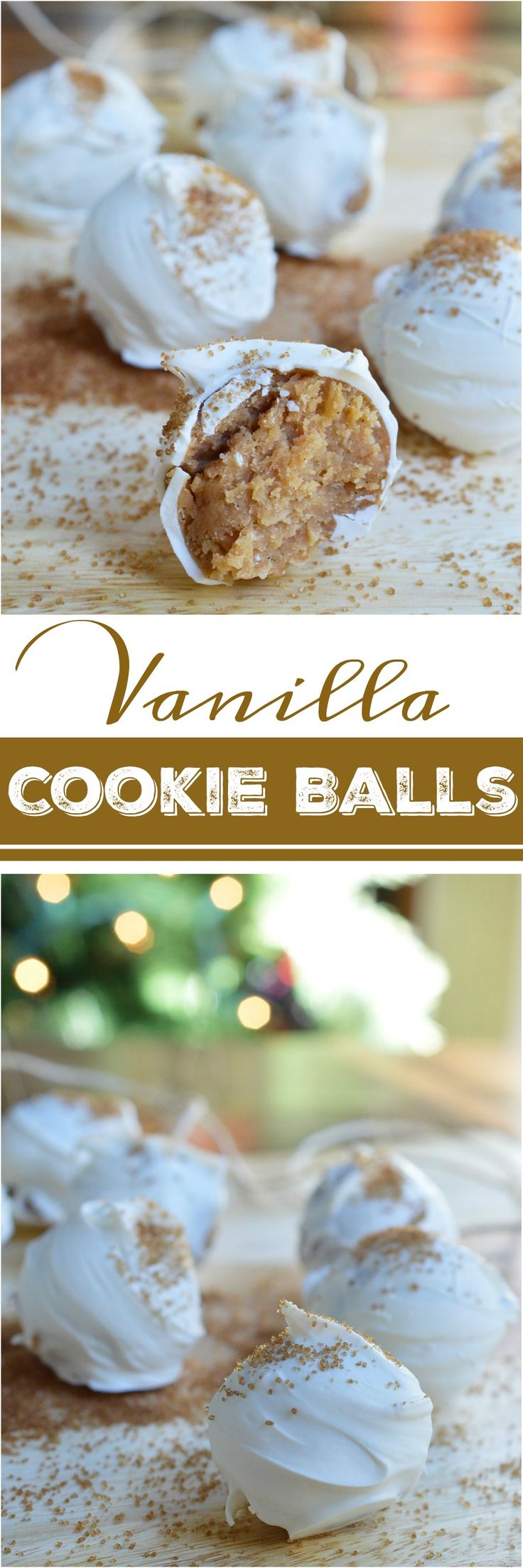 Another great no-bake holiday dessert! This Vanilla Cookie Balls Recipe is perfect for those folks that aren't all about the chocolate. Vanilla wafers, cream cheese and vanilla bean paste formed into balls then coated with white candy and bourbon vanilla sugar! #ad