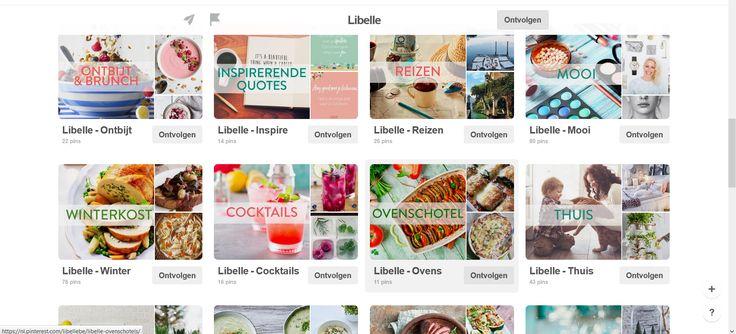 Libelle staat voor gezonde voeding, modebewustzijn en genieten.  Hun Pinterest is in overzichtelijke thema's ingedeeld.  Zo hebben ze verschillende boards met recepten per thema, kun je er terecht voor reistips en geven ze mode- en make upadvies.   Ook huis- en tuinthema's komen aan bod, en ze hebben ook boards die gelinkt zijn aan bepaalde periodes in het jaar.   Heel overzichtelijk allemaal en er is telkens een link naar een website met meer uitleg over het beeld.