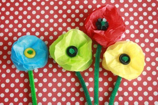 Simple round tissue flowers tutorial