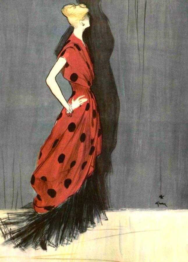 Dress Mad Carpentier, illustration René Gruau, 1947