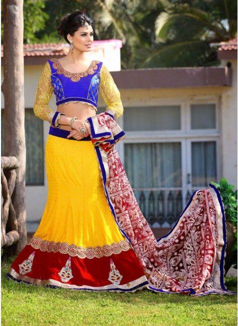 Ethnic Red & Yellow Color Velvet Based #Lehenga #Choli