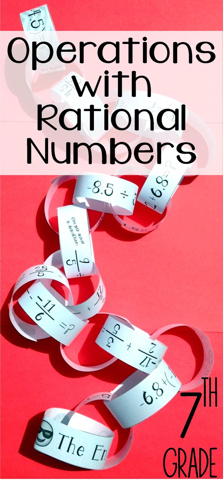 This Operations with Rational Numbers paper chain activity was the perfect way to get my 7th grade Math students practicing adding, subtracting, multiplying, & dividing rational numbers.  I love that it includes Decimals, Fractions, Positives, and Negatives.  I also love that it gets progressively harder to challenger those more advanced students.