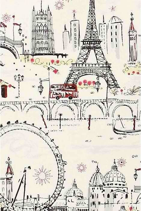 paris doodle wallpaper - would love to do an accent wall in a girls nursery with this.