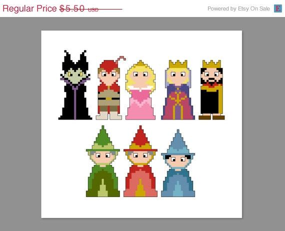 Christmas In July 20% Off Sleeping Beauty Pixel People Character Cross Stitch PDF PATTERN ONLY