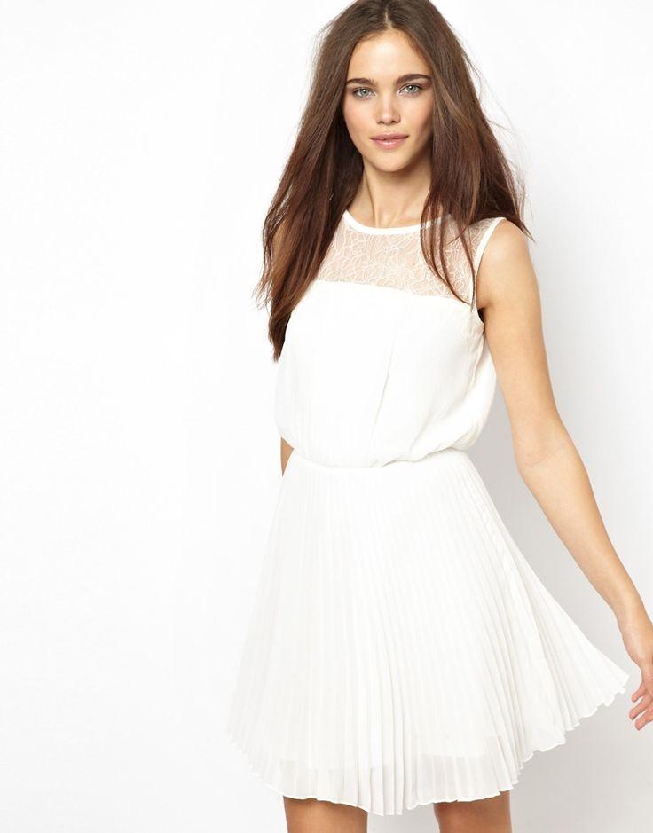 Elise Ryan Skater Dress in Eyelash Lace with Pleated Skirt